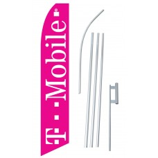 T Mobile Pink & White Swooper Flag Bundle