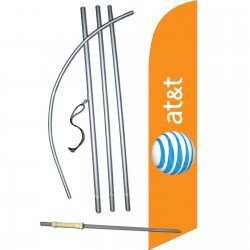 AT&T Wireless Orange Windless Swooper Flag Bundle