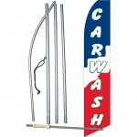 Car Wash Red White Blue Swooper Flag Bundle