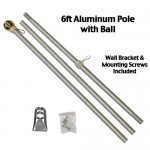 6' Silver Aluminum Flag Pole With Wall Bracket