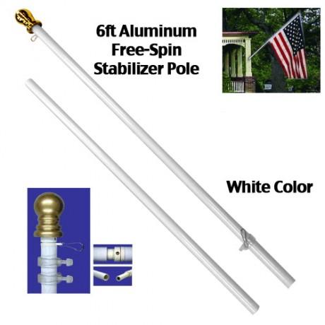 6 Ft White Spin Free Flag Pole