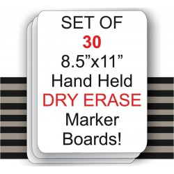 "8.5"" x 11"" Hand Held Dry Erase Board Sign - 30 Set"