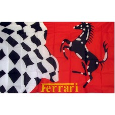 Ferrari Stallion Checkered Automotive Logo 3'x 5' Flag