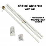 6' White Steel Flag Pole With Wall Mount