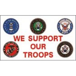 We Support Our Troops 5 Logos 3'x 5' Economy Flag